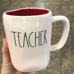 Rae Dunn teacher mug red interior